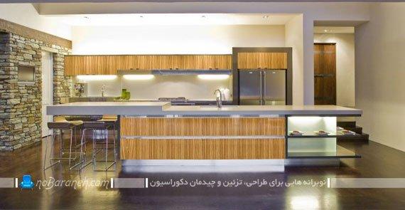 نورپردازی شیک و ساده کابینت های آشپزخانه