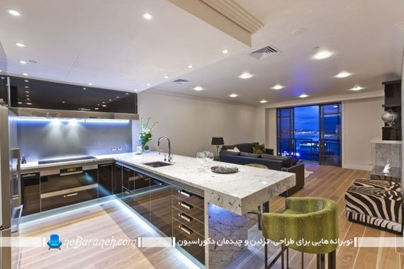 نورپردازی جدید و مدرن کف و سقف آشپزخانه اپن
