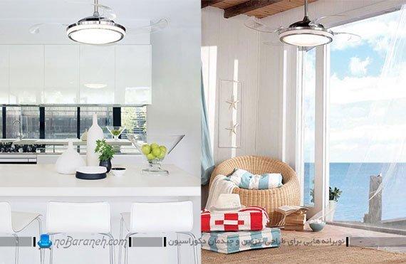 پنکه سقفی شیشه ای با سیستم روشنایی