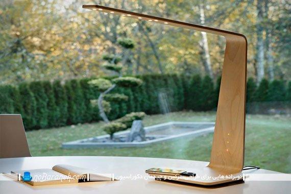 چراغ مطالعه رومیزی چوبی با چراغ های led