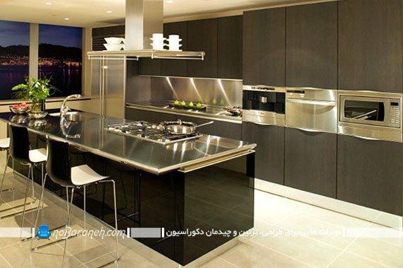 طراحی دکوراسیون آشپزخانه با استیل و mdf