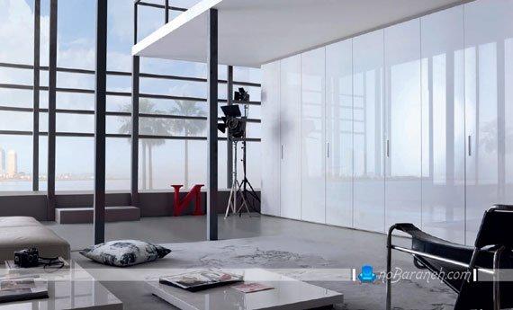 مدل کمد دیواری با در های گلاس / عکس