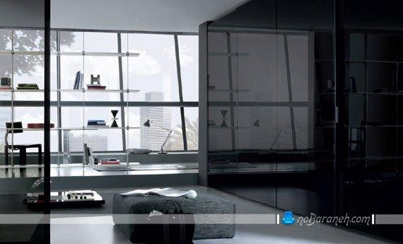 مدل کمد دیواری کشویی سیاه رنگ / عکس