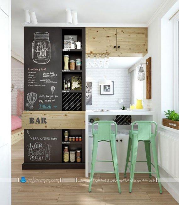 تزیین دکوراسیون آشپزخانه اپن کوچک و زیبا