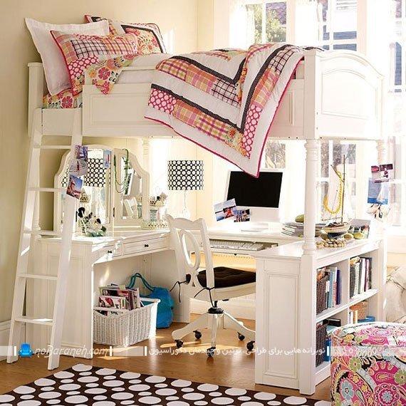 تخت خواب نردبان دار دخترانه