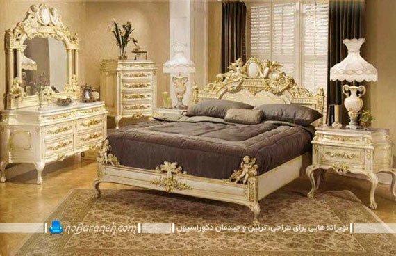 تخت خواب سلطنتی عروس با رنگ طلایی