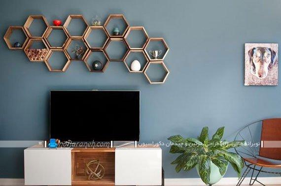 شلف تزیینی و دیواری شیک و ظریف و زیبا با طرح لانه زنبوری
