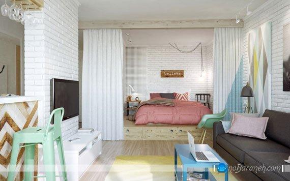 چیدمان و طراحی دکوراسیون داخلی خانه کوچک 45 متری