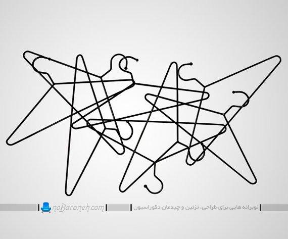 رخت آویز دیواری با ترکیب جالباسی های میله ای
