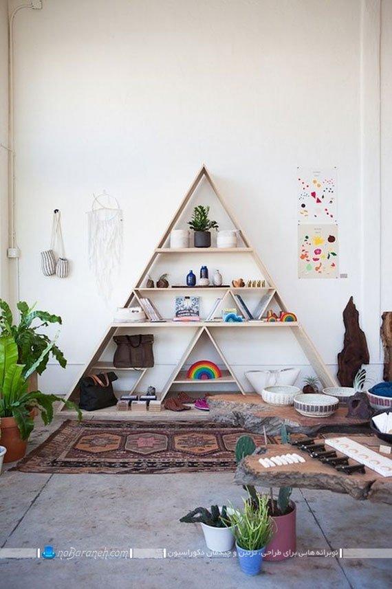 شلف چوبی تزیینی برای دیزاین دکوراسیون داخلی خانه