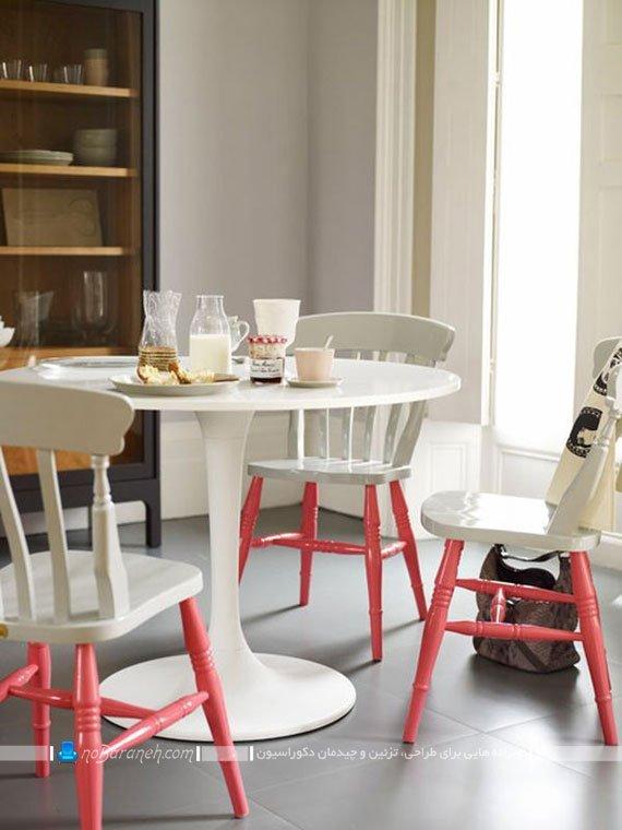 رنگ زدن میز و صندلی نهارخوری چهار نفره با دو رنگ صورتی و سفید