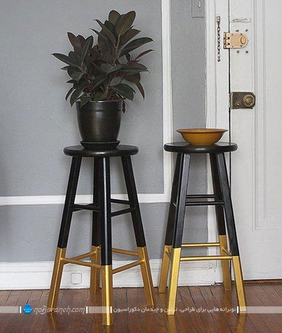 مبلمان چوبی قدیمی و رنگ پریده را این چنین رنگ کنید | نوبرانه... رنگ کردن مشکی و طلایی چهار پایه های تزیینی