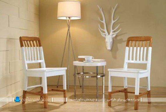 صندلی های چوبی تک نفره ، رنگ شده با قهوه ای و سفید