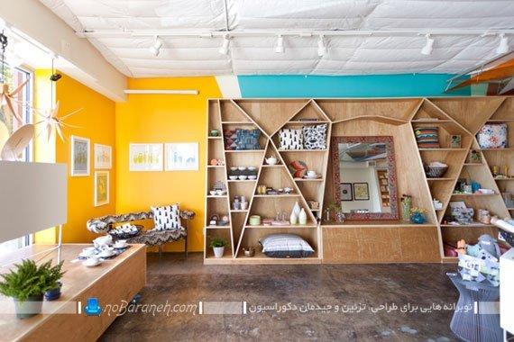 طبقه بندی و قفسه بندی چوبی دیوار اتاق نشیمن