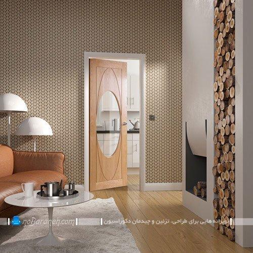 درب داخلی چوبی و شیشه خور