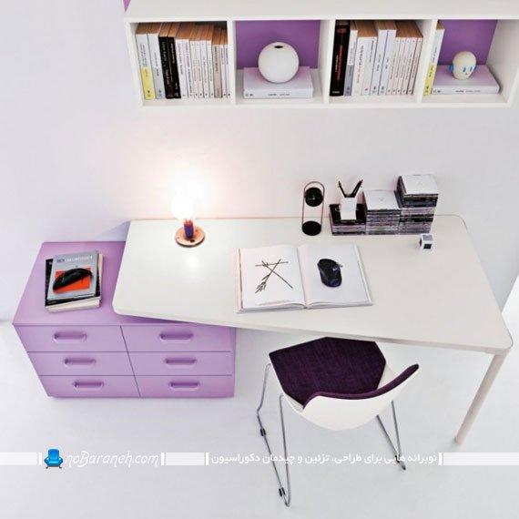 میز تحریر کشو دار و کتابخانه رنگ بنفش برای خانم های جوان