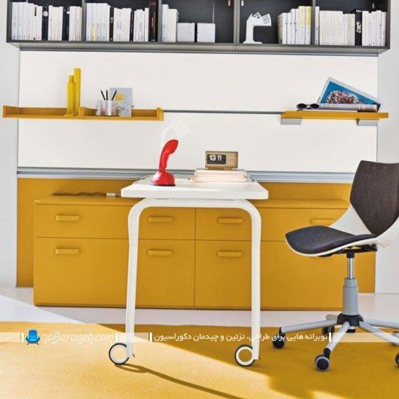 میز تحریر کشویی با قابلیت عقب و جلو رفتن دارای کشو و کتابخانه