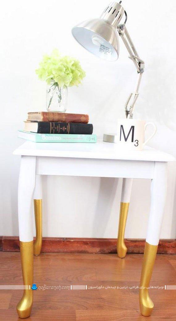 رنگ آمیزی سفید و طلایی میزهای چوبی