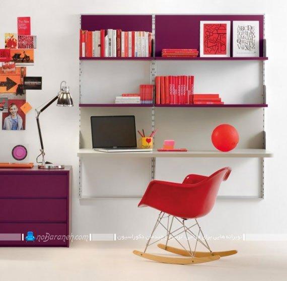 میز کامپیوتر و کتابخانه دیواری ساده
