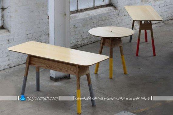 رنگ آمیزی میزهای چوبی با پایه های رنگی