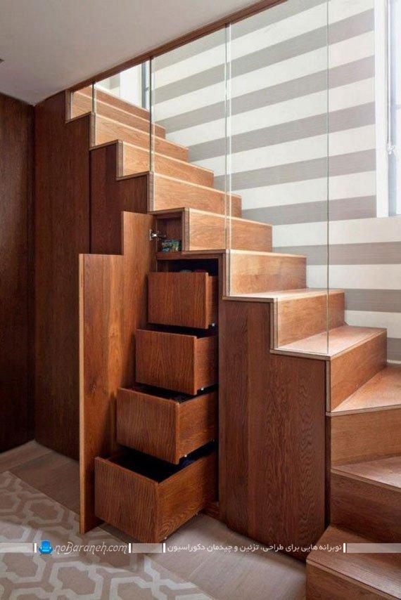 قفسه بندی چوبی زیر پله های دوبلکس