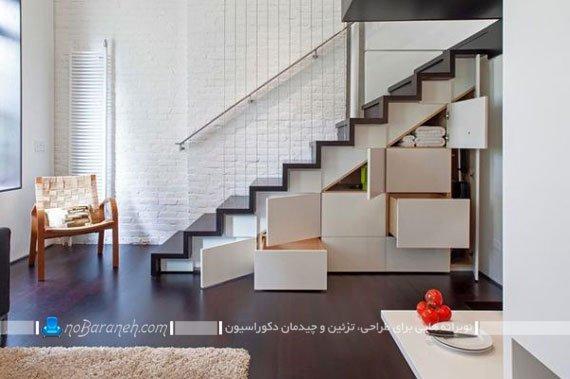 قفسه بندی زیر پله های داخلی ساختمان