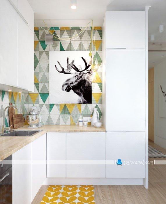 کابینت های سفید و ساده آشپزخانه