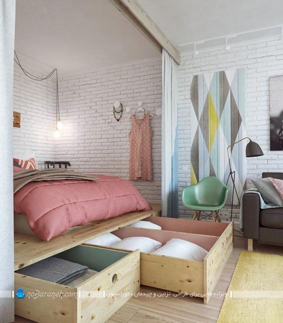طراحی و ساخت کشوهای چوبی در فضای اتاق خواب