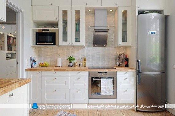 پوشش دیوارهای آشپزخانه با کاشی های ظریف و کرم رنگ