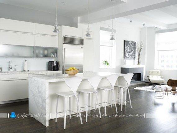 آشپزخانه جزیره با میز مریری سفید رنگ شیک مدرن فانتزی طرح و مدل جدید.