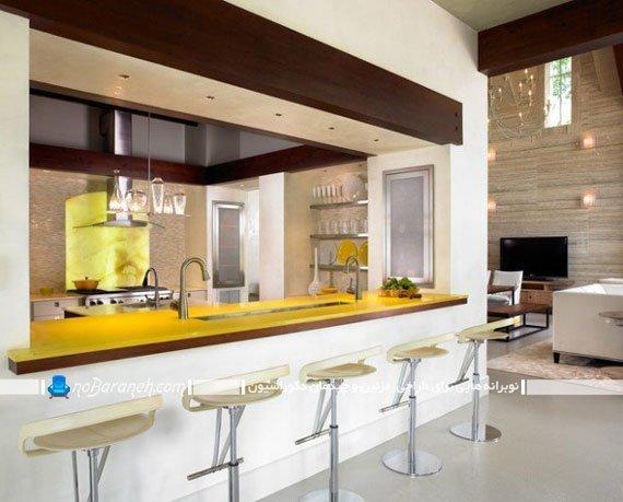 مدل اپن آشپزخانه مدرن با طراحی شیک جدید. مدل های جدید صندلی اپن مدرن و فانتزی فلزی. اپن آشپزخانه با فضای سینک و ظرفشویی.