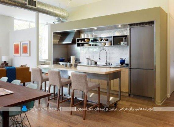 مدل آشپزخانه جزیره با میز متحرک. جزیره متحرک چوبی و فلزی با قابلیت جابجایی و حرکت دادن. مدل جدید میز جزیره برای آشپزخانه اپن.
