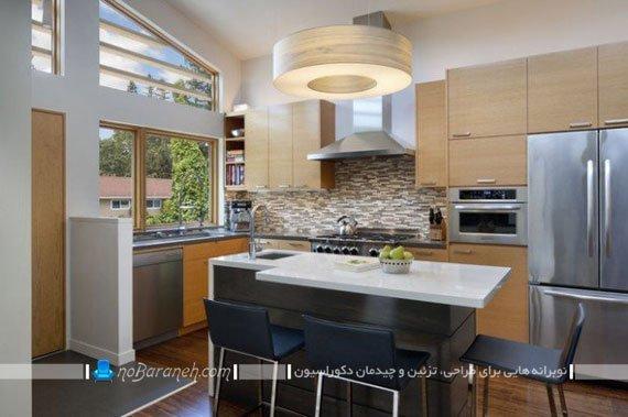 طراحی جزیره ای آشپزخانه با میز جزیره کوچک سفید رنگ ام دی اف mdf. مدل های جدید جزیره آشپزخانه مدرن با ابعاد کوچک.