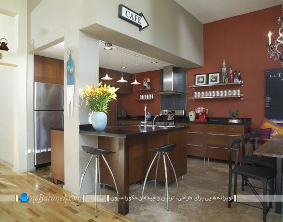 مدل میز جزیره آشپزخانه با جنس چوبی mdf ام دی اف. میز جزیره ای برای آشپزخانه کوچک و نقلی.