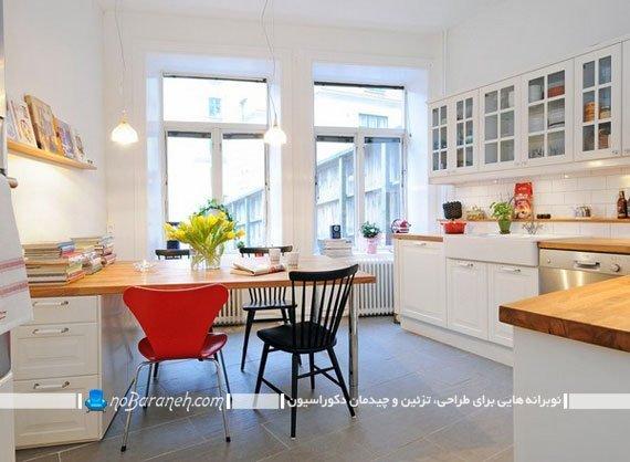 قرار دادن میز کار و مطالعه در فضای داخلی آشپزخانه