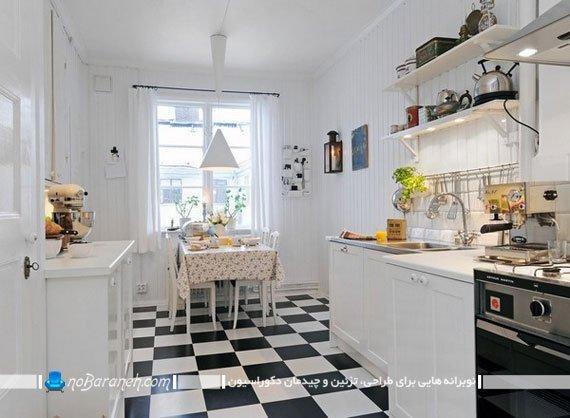 کفپوش آشپزخانه با طرح شطرنجی سیاه و سفید