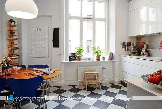 استفاده از کفپوش شطرنجی سیاه و سفید لوزی شکل در آشپزخانه