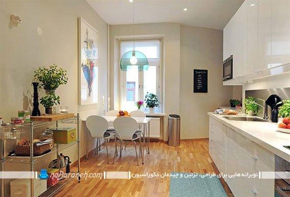 تزئین دکوراسیون آشپزخانه به سبک اسکاندیناوی با کابینت های سفید