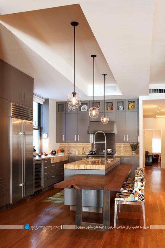 آشپزخانه جزیره ای با میز سینک و ظرفشویی دار. طرح جدید و ساده میز جزیره ای آشپزخانه. مدل های نورپردازی میز جزیره و میز اپن.