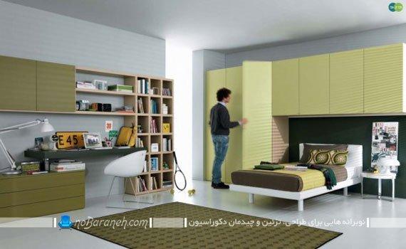 دیزاین پسرانه اتاق پسرهای جوان با سبز و سفید