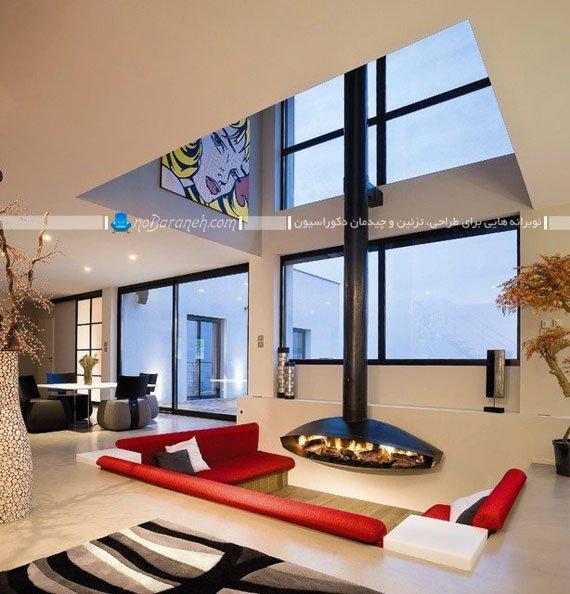 اتاق پذیرایی مدرن و نیمه دوبلکس