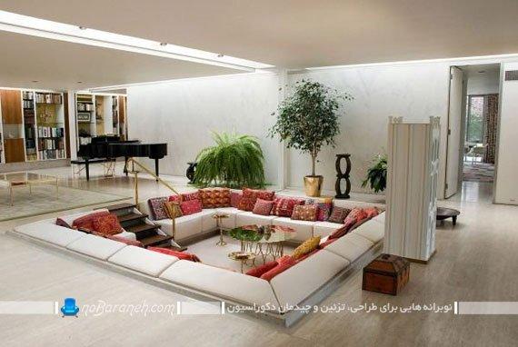 اتاق نشیمن و پذیرایی لوکس و مدرن با طراحی دوبلکس معکوس