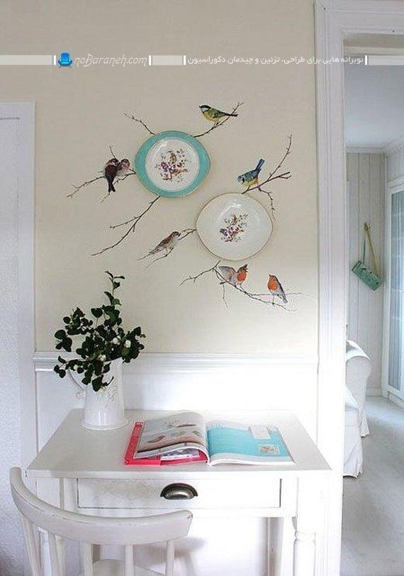 زیباسازی دیوار منزل با ظروف چینی
