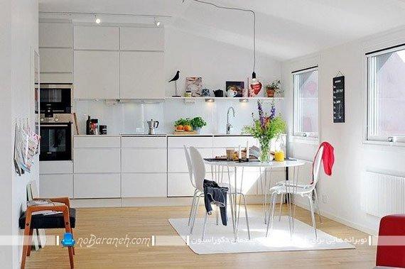 طراحی و دیزاین آشپزخانه با حضور مستمر رنگ سفید