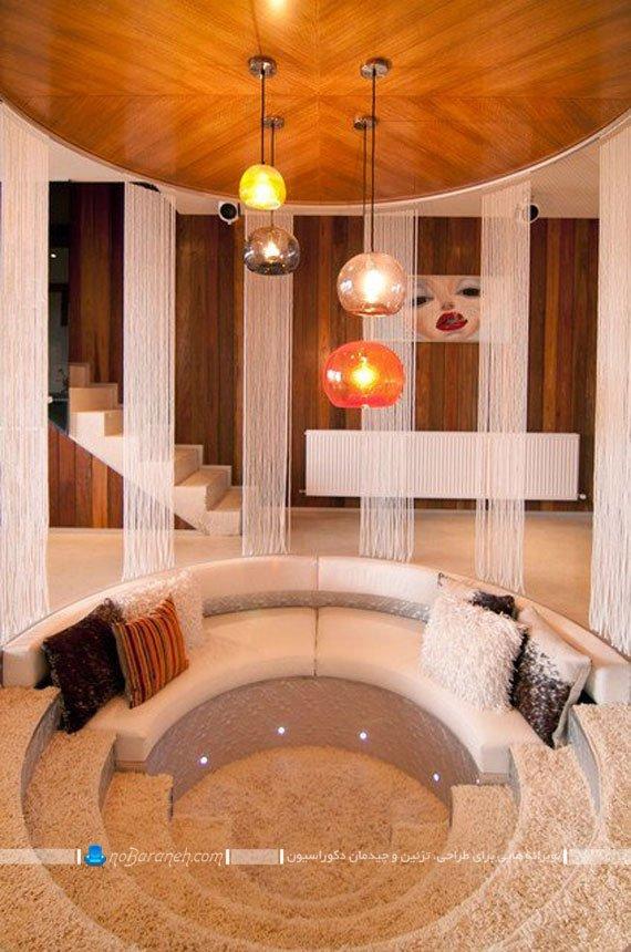 طراحی و اجرا اتاق نشیمن به شکل گرد و پله ای