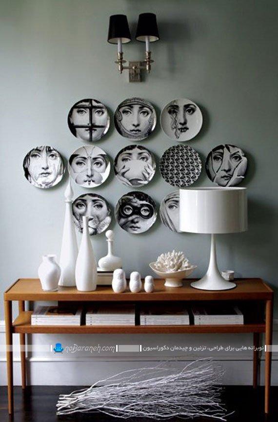 دیزاین دیوار منزل با ظروف چینی