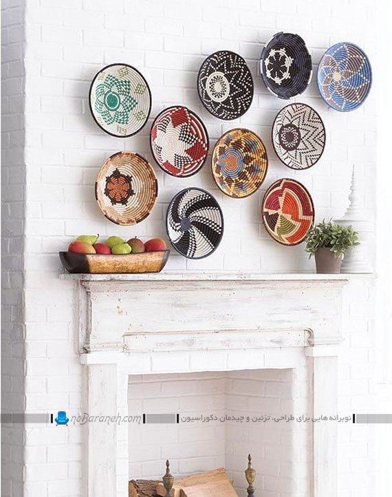 ظروف حصیری تزیینی روی دیوار