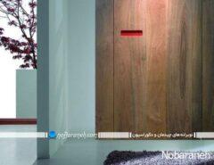 درب چوبی ریلی و کشویی با طرح و مدل ساده و مدرن برای ورودی اتاق خواب آشپزخانه یا اتاق نشیمن و پذیرایی، مدل های جدید درهای چوبی داخل خانه و منزل