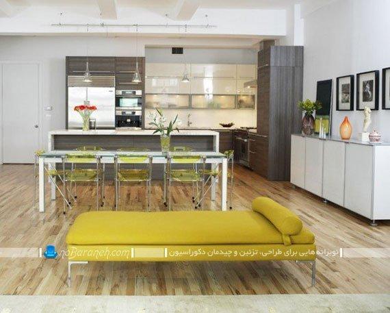 طراحی دکوراسیون جزیره ای آشپزخانه به سبک شیک مدرن با طراحی جدید.