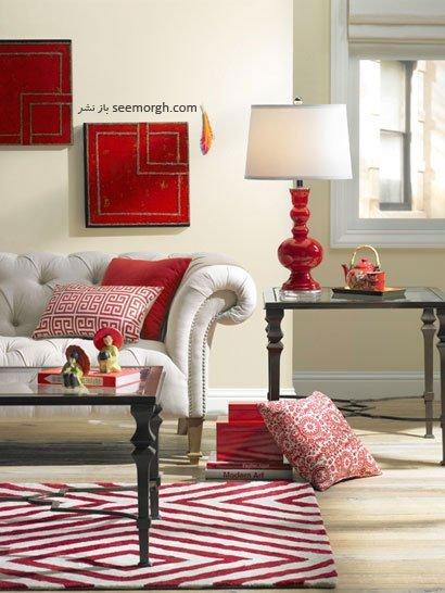 طراحی و تزیین دکوراسیون خانه با رنگ قرمز